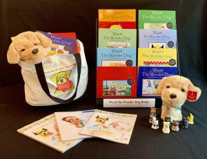 A school counselor resource of puppet and 8 picture books.
